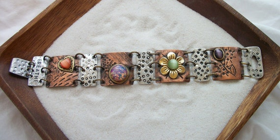 "Copper and Aluminum Mixed Media Bracelet ""Breathe"""