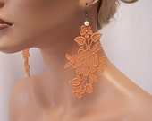 Heather lace earrings pottery orange color