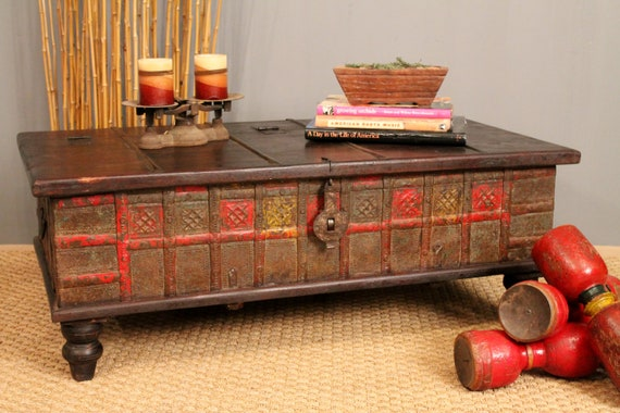 Red And Yellow Antique Trunk Coffee Table