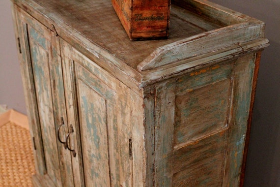 Distressed Teal Cabinet