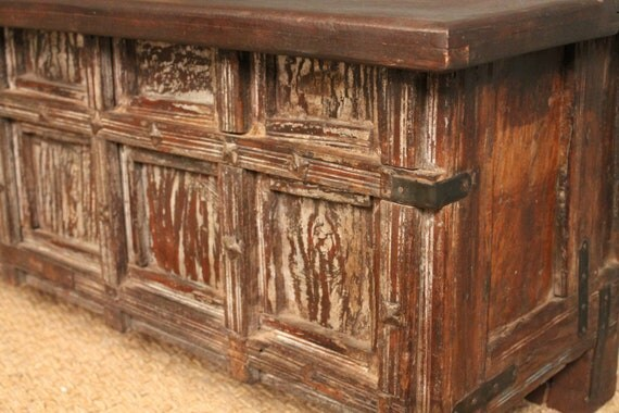 CLEARANCE HUGE SALE Rustic Solid Wood Storage Box Trunk Chest Narrow Coffee Table Storage
