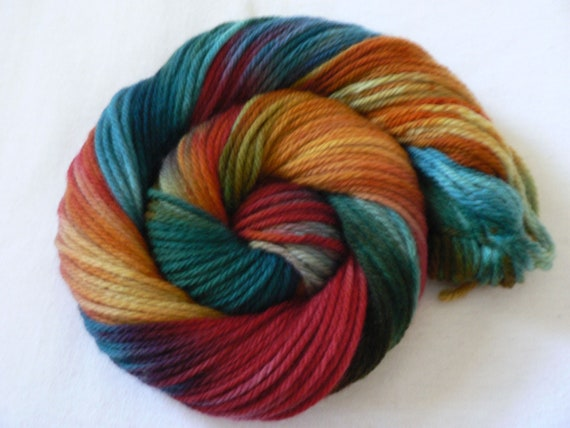 Handpainted Worsted Weight Superwash Merino Yarn- Fruit Snacks 110 yards