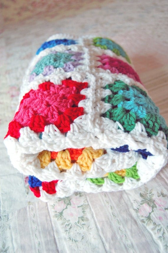 RESERVED Custom Order - Colorful Granny Square Baby Afghan Blanket - Baby Shower Gift