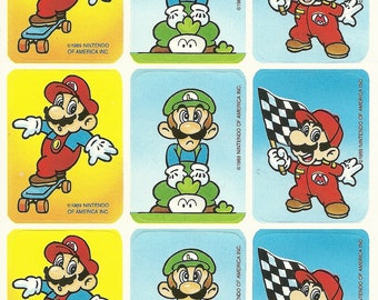 Vintage 80s Super Mario Brothers Skateboard Sticker Sheet (Version 4)