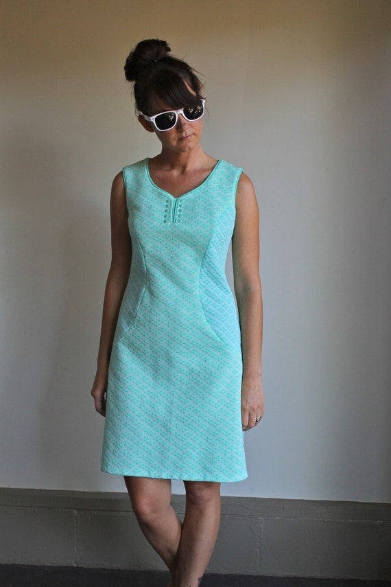 Vintage 60s Dress / Mod Tiny Floral Mint and White Small / Medium