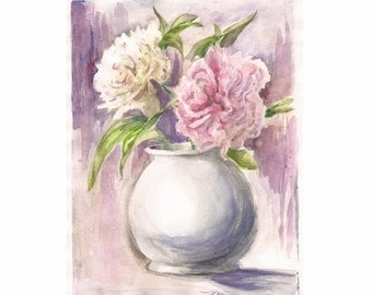 "Peonies Pink and White, Print of Watercolor 8""x10"""