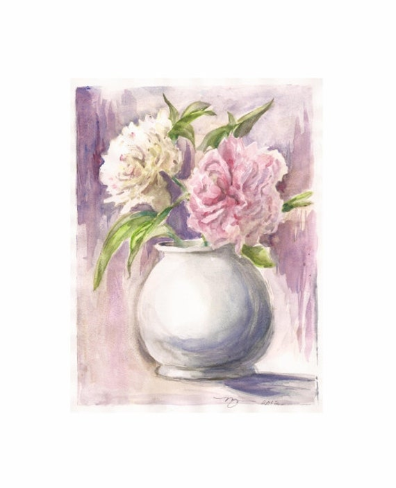 """Peonies Pink and White, Print of Watercolor 8""""x10"""""""