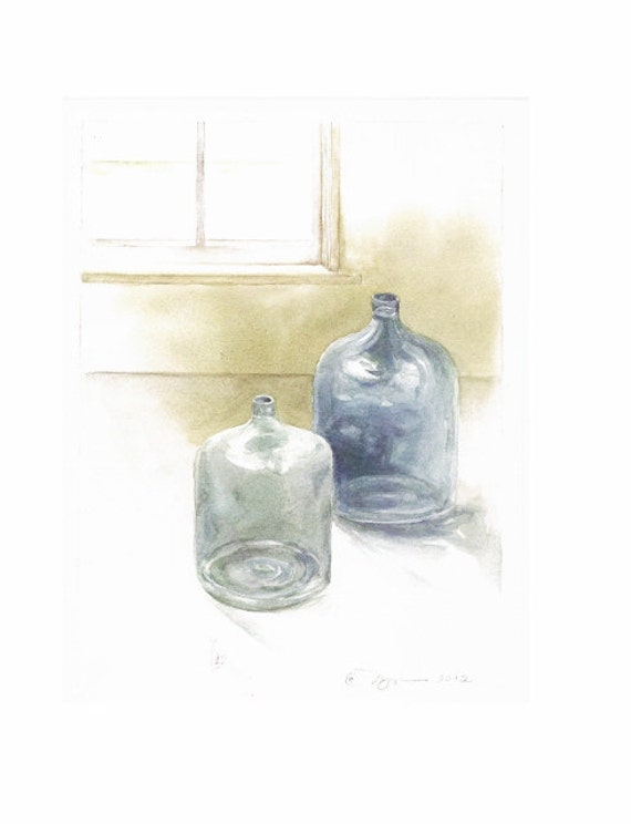 "Glass Jugs By Window, Print from watercolor, 8""x10"""