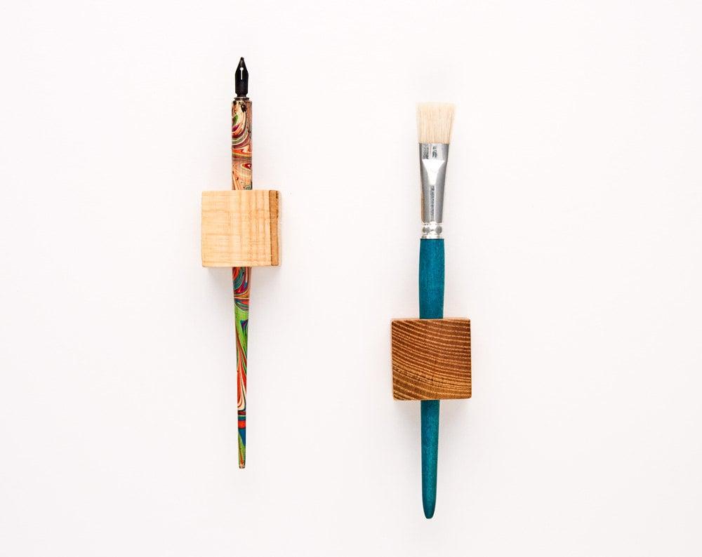 Magnetic Pen Holder Wooden Cubes Magic Pen Cubes