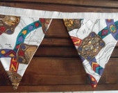 Americana Cowboys & Indians Western RANCH Decor Decorating Flags Fabric Bunting Banner 18 Flags 12 FT Garland