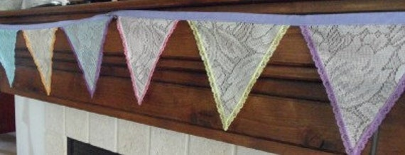 NEW Pastel Hand Dyed Tulip LACE Fabric Bunting Banner Decoration 11 Ft 14 Flags Garland