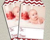 Photo Gift Tags - Red Chevron - Printable