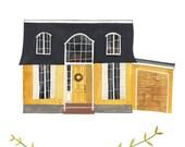 RESERVED for Wesley Fuller: Custom Illustrated House Portrait