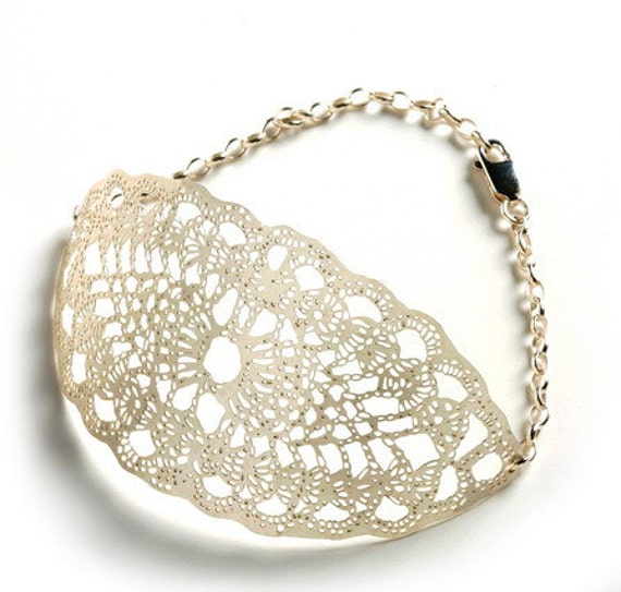 Silver plated Marquise metal lace leaf bracelet