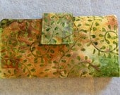Fabric Wallet - Green Leaf Batik