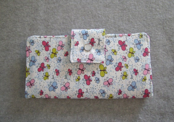 Fabric Wallet - Live Laugh Love with Butterflies