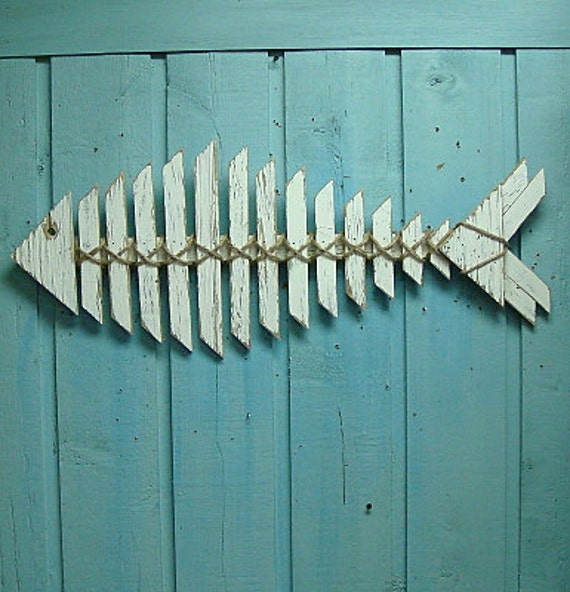 Fish Skeleton Sign Weathered White Wall Art Beach House Coastal Sign Sculpture