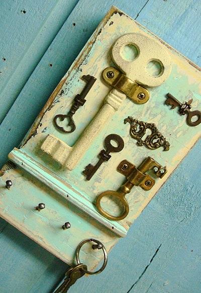 Key Rack Holder Skeleton Keys Seafoam Seaglass By Castawayshall