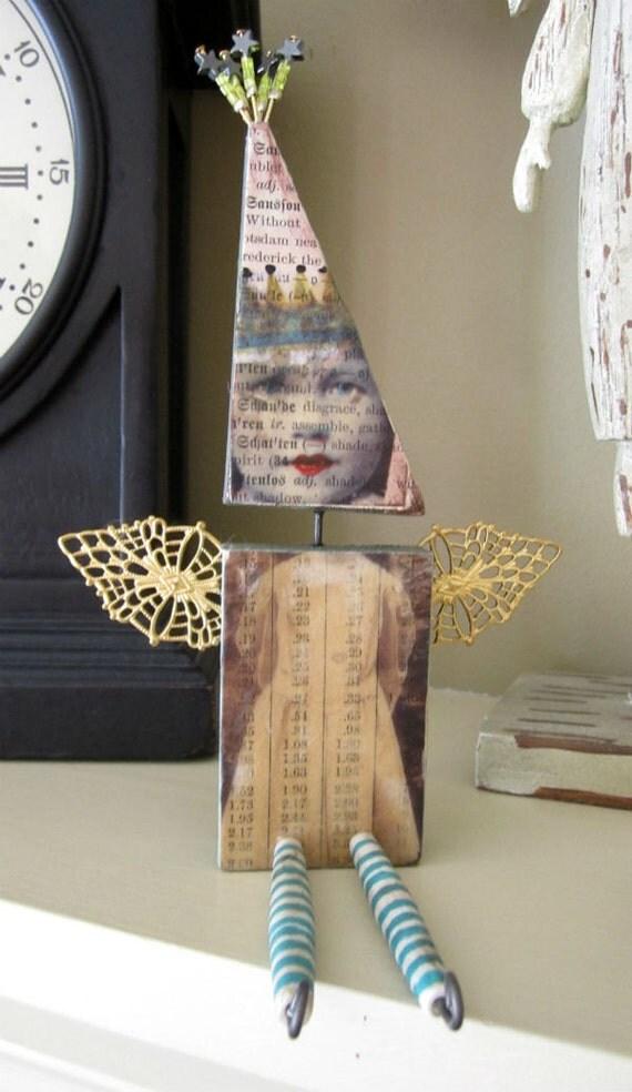 Original Lover-lee Mixed Media Sitting Art Doll OOAK w Filigree Wings