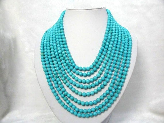 Holiday Party,Beaded Necklace,turquoise necklace,Beaded Jewelry With 8rows 6mm round Turquoise