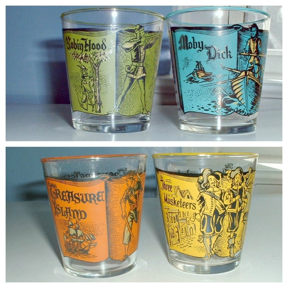 Vintage Libbey Rocks Glasses Story Book Novel Set of 4  Moby Dick Treasure Island Robin Hood 3 Musketeers