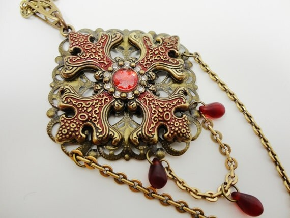 Gothic Vampire Cross Necklace in Gold and Blood Red- by Dr Brassy Steampunk