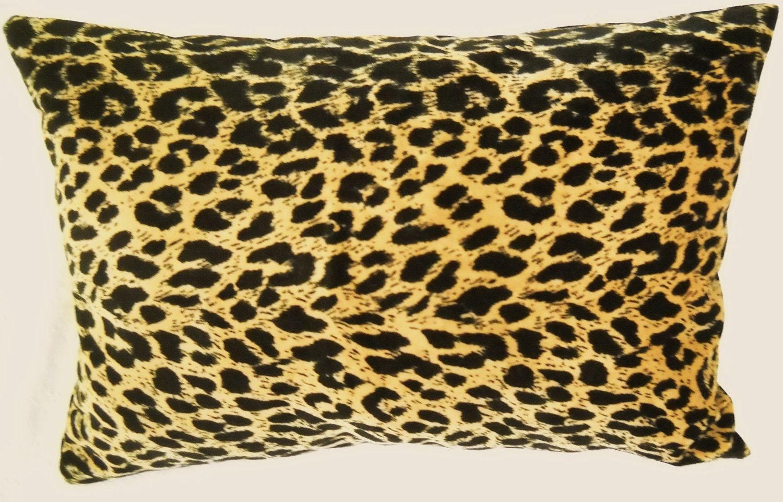 leopard print velveteen lumbar pillow