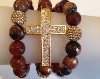 Sparkling Cross multiple bracelet set.