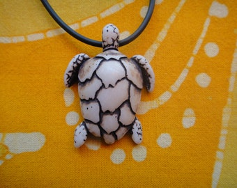 Carved Sea Turtle Pendant Necklace