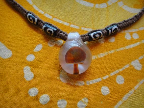 Glass Mushroom Tribal Batik Bone Beaded Hemp Necklace