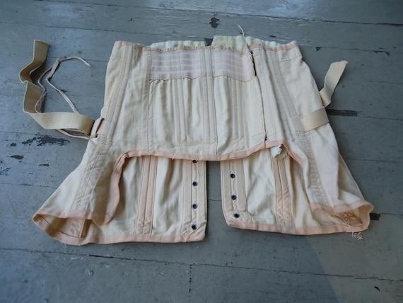Peach Cotton Boned Vintage 1940's Womens Half CORSET M L