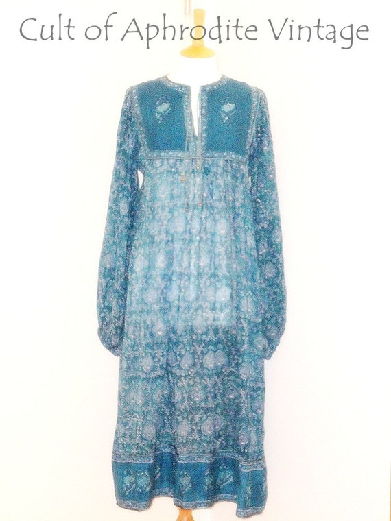 Vintage 70s Rare Indian Cotton Gauze BIB Floral Hippie Boho Festival Midi DRESS