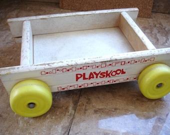 Vintage Playskool wooden wagon toy