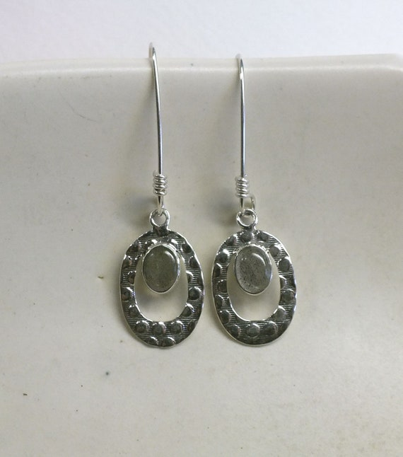 Blue Oval Labradorite and Sterling Silver Drop Earrings