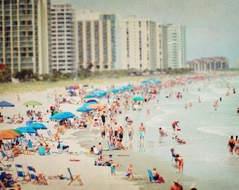 Beach Photography - Coast - Summer - Crowd - Waves - Sunbathers