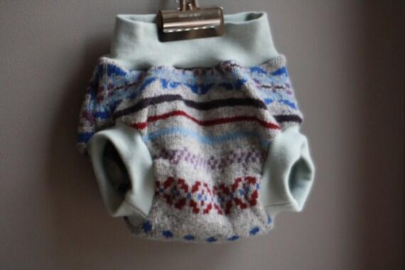 Large--Lambie Love Wool Soaker--Apple Pickers--Cloth Diaper Cover