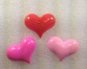 SiMPLe HeArTs  Kawaii Resin Cabochon 3 pieces USA SHIPPING.....50% oFF WiTh CoUPoN