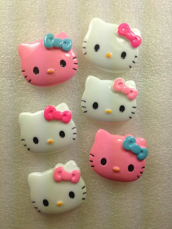 MeDiuM PiNk HeLLo KiTTy KaWaii ReSin Cabochon...6 Pieces...USA Shipping... 50% off Sale WiTh CoUpOn
