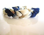 Indigo Dyed Braided Bracelet- Japanese Shibori Tie dye - Recycled Yarn Bracelet- Eco Friendly - Hand Dyed- Ombre Bracelet