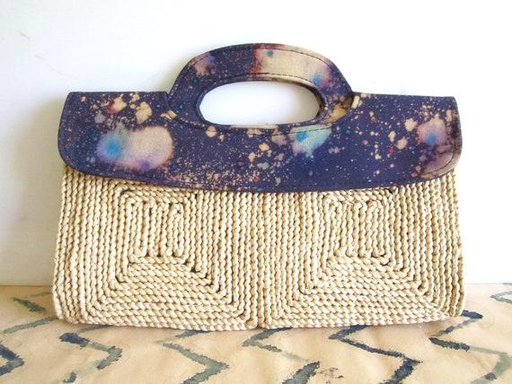 Cosmic Galaxy - Vintage Straw Purse - Repurposed Handbag - Painted Bleached - Space Print - Indigo Blue  - Straw Rafia Clutch