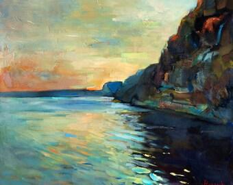 Original Oil Rocks  24x20 in, Landscape Painting Original Art Impressionistic OIl on Canvas by Ivailo Nikolov