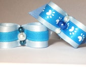 SaLE 2 Blue New Puppy Dog Bow's Blue