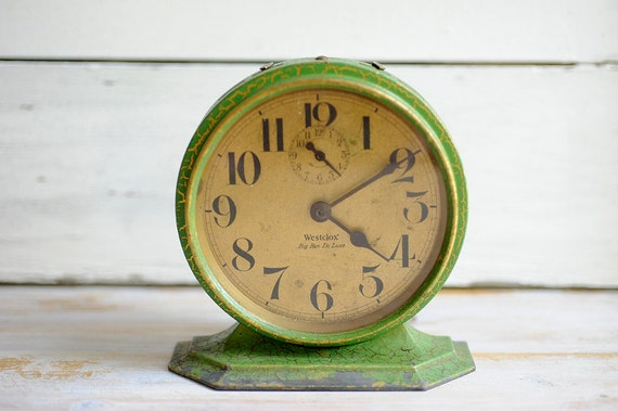 vintage, Big Ben, green, cottage decor, crackle, alarm, clock.