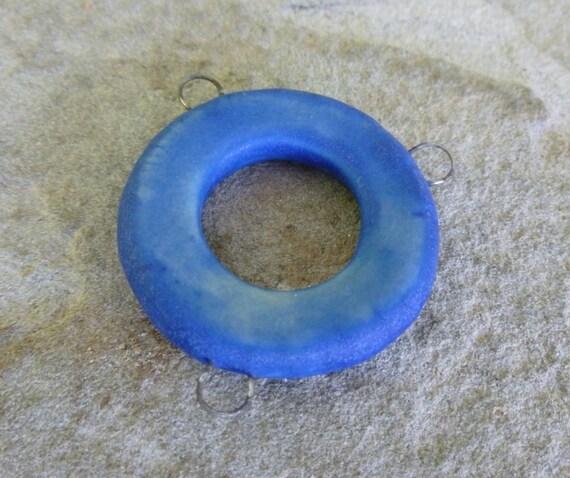 Matte Blue Porcelain Focal Connector