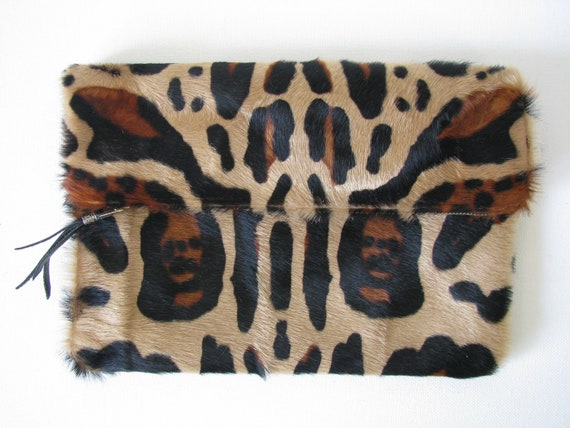 """Large Fold Over Clutch Bag / Cosmetic Bag / Hand Bag -- Hair on Cowhide Leather """"Reserved for dfletch'"""