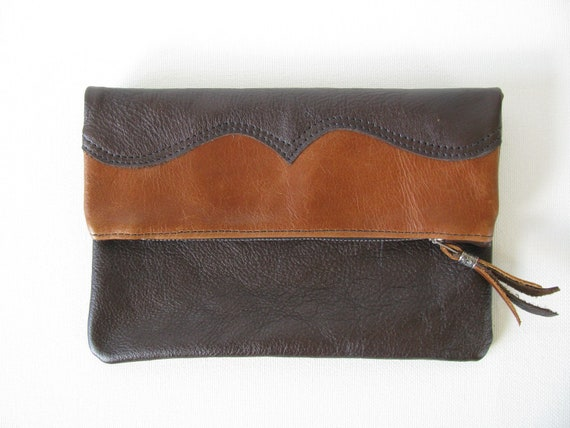 """Two Tone Fold Over Clutch Bag / CosmeticBag / Handbag - Distressed Brown Leather, Congnac Leather """"Reserved for Tessa Burnett"""""""