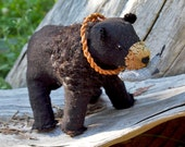 Black Bear with Salmon - Hand Stitched Soft Sculpture