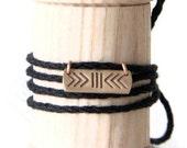 Charm necklace or bracelet- handmade bronze pendant on linen thread- HAPPINESS BRUSH sign