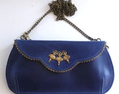 Summer Sale - Gorgeous blue leather clutch with ballerinas