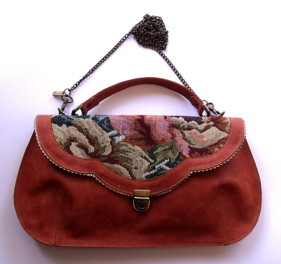 FREE  shipping -  Cognac leather purse with flowers